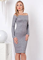 Женское трикотажное облегающее платье серого цвета с открытыми плечами и длинным рукавом. Модель 963 SL.