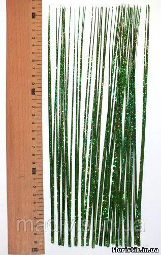 Трава декоративная голограмма зеленая