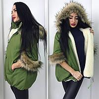 Женская модная теплая куртка  с капюшоном