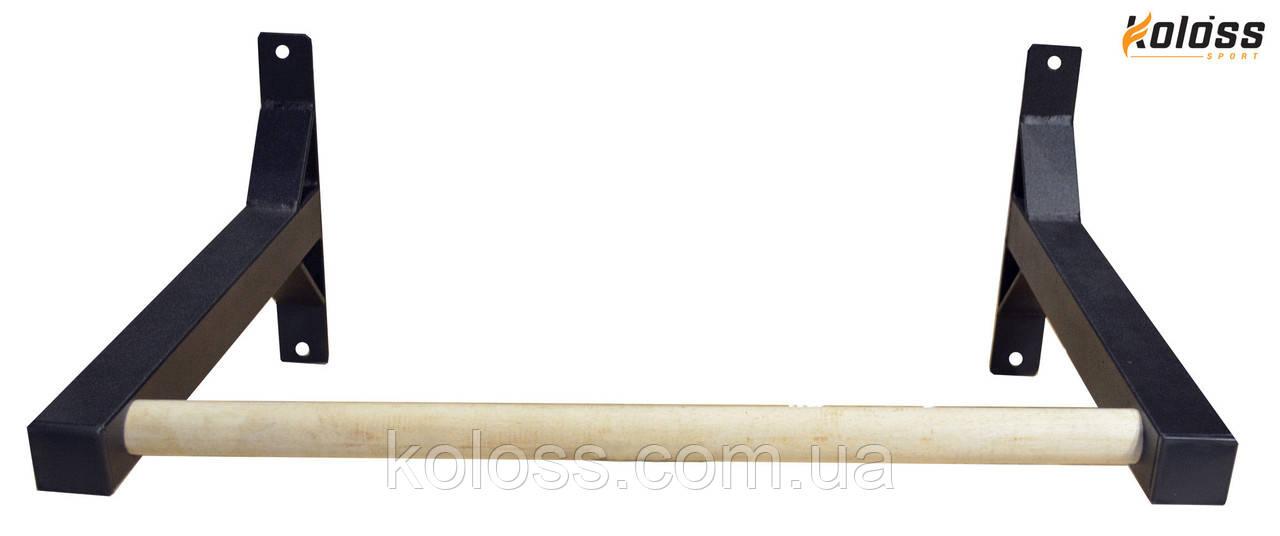 Турник с деревянной перекладиной черный от TM Koloss-sport
