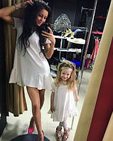 Мама и дочка набор платьев внизу рюша