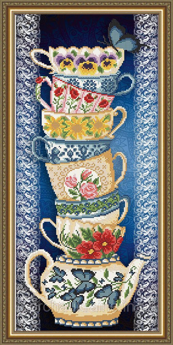 Авторская канва для вышивки бисером «Чашки на синем»