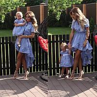 Стильный набор платьев мама и дочка клетка