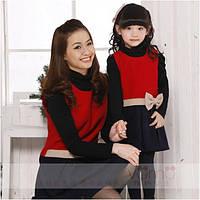 Модный набор мама и дочка платьев с длинным рукавом