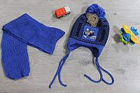 Детская шапка и шарф на 2-5 года, вязаный комплект для мальчика