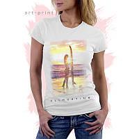 Футболка белая женская с принтом Girl Surfing