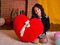 Яркая мягкая игрушка размером 80 см Подушка сердце красного цвета