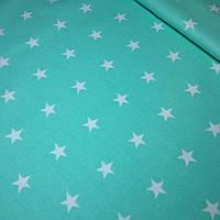 Бязь хлопковая белые звезды 2см на мятном фоне №91