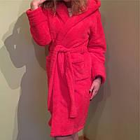Махровый халат женский с капюшоном,  теплый, малина,Турция