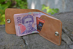 Кожаный мини портмоне кардхолдер (Рыжий)