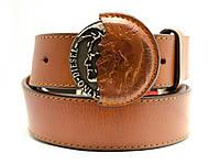 Стильный мужской кожаный ремень Diesel под джинсы или кежуал брюки с красивой  пряжкой (11206)