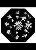 Диск для стемпинга, зима, снежинки, Киев, качественная насечка