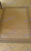 Безворсовый ковер-рогожка Balta Стар рамочка светло серый с голубым и коричневым