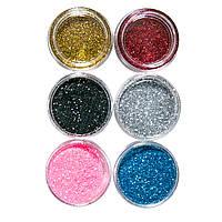 Набор глиттер песка для дизайна ногтей, 6 шт цветные №1 , фото 1