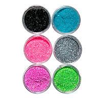 Набор глиттер песка для дизайна ногтей, 6 шт цветные №2, фото 1
