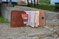 Кожаный мини портмоне кардхолдер (Краст вишня)