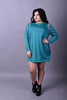 Женское платье-туника , больших размеров р-52-74 цвет морская волна