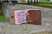 Кожаный мини портмоне кардхолдер 21016 (Краст каштан)