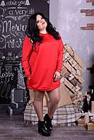 Женское платье-туника , больших размеров р-52-74 цвет красный