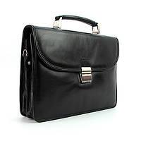 Портфель кожаный мужской классический черный Bond 1201-1 Турция