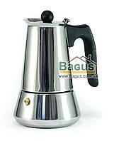 Кофеварка гейзерная из нержавеющей стали 220мл (4 чашки) с индукционным дном Edenberg (EB-1805)