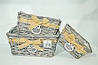 """Набор плетеных корзинок """"сова"""",серый, прямоугольный , 3шт"""