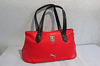 Сумка женская Puma (072240-02) красная с чёрными ручками код 0474А