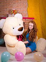 Медведь Большой Степа персиковый, мягкая игрушка, 2 метра