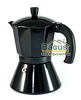 Кофеварка гейзерная алюминиевая 300мл (на 6 чашек) черного цвета Edenberg (EB-1816)