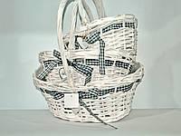 """Набор плетеных корзинок """"LOVE"""", овальная, белая,с ручкой, 3шт"""