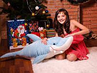 Мягкая игрушка Акула Симпатяга 115см  голубая