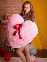 Плюшевое Сердце 80 розовое (подушка)