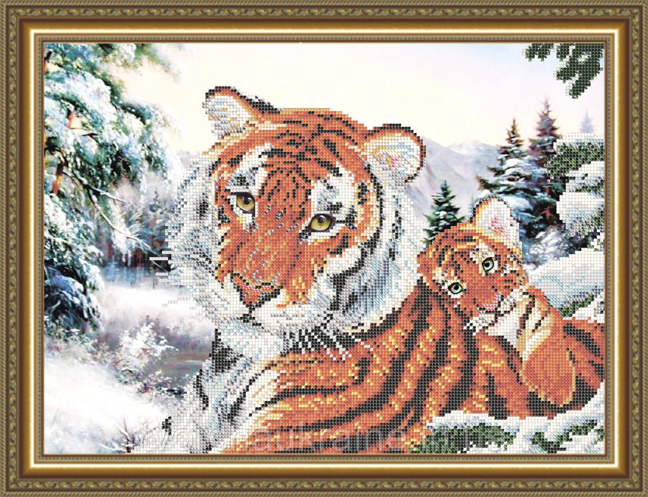 Авторская канва для вышивки бисером «Тигрица с тигренком»