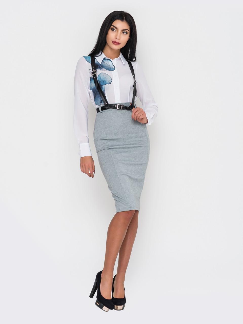 2cf35808a81 Элегантная женская серая юбка-карандаш с портупеей в комплекте р.44 ...