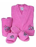 Подростковый махровый халат с тапочками и полотенцем Karaca Home  MELOSA