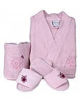 Подростковый махровый халат с тапочками и полотенцем Karaca Home  SHEA