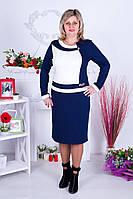 Платье женское трикотажное Ирена синий/молоко 60-62 размеры