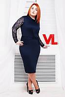 Нарядное трикотажное платье Люси синий гипюр 60-62 размеры