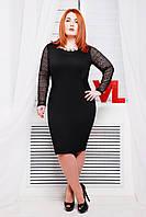 Нарядное трикотажное платье Адель черный 60-62 размеры