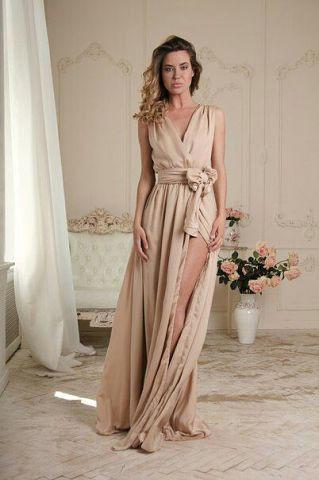 Платье в пол с поясом или без