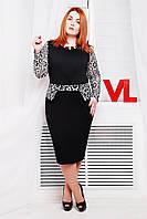 Нарядное трикотажное платье Мишель черный\белый гипюр 60-62 размеры
