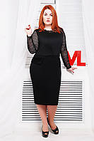 Красивое трикотажное платье Мишель черный сетка 60-62 размеры