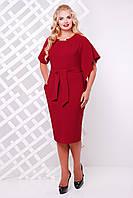 Бордовое женское платье Кармен  48-56 размеры