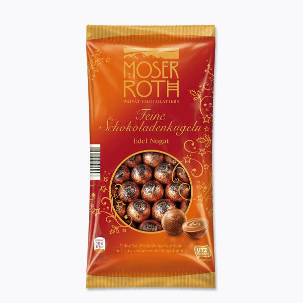 Шоколадні кульки з праліне Moser Roth Mini Chocoladenkugeln Edel Nugat, 150 гр.