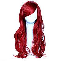 Парик с длинными искусственными волосами рубиновый