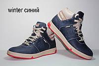 Зимние мужские кожаные  кроссовки спортивные ботинки Follamen Winter Blue, фото 1