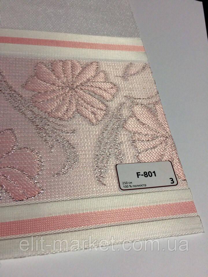 Шторы зебра розовые с цветочным принтом