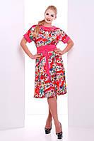 Женственное летнее платье Кристина коралл VLAVI 50-56 размеры