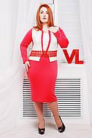 Нарядное трикотажное платье Жанна коралл 50-56 размеры