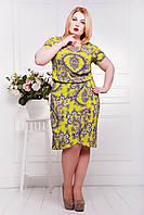 Платье большого размера Санти лайм 50-52 размеры